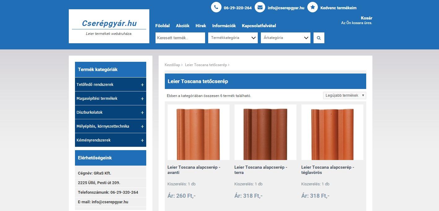 Cserépgyár.hu - Leier webshop