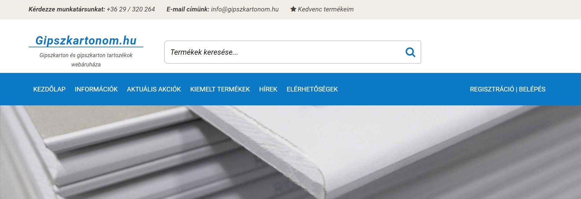 Gipszkartonom.hu - Gipszkarton webáruház